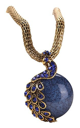 Craft Antique Peacock Tail Single Marbles Pendant Necklace(Blue) ()
