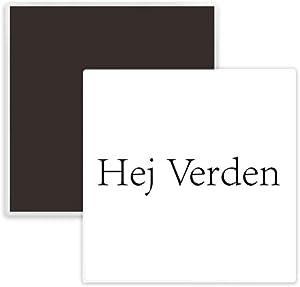 Hello World Danish Square Ceramics Fridge Magnet Keepsake Memento