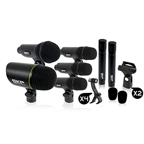 SKP PRO AUDIO DMS-7II Drumset Microphone Kit. 1 Bass Drum, 4 Snare Drum and Tom Tom, 2 Ride Crash and Hit Hat Cymbals, 2 Special Foams Windscreens, 2 Stands, 1 Pro Case