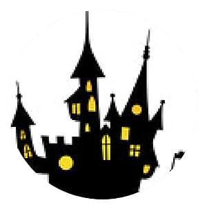 alfombrilla de ratón La luz iluminó de Halloween que frecuenta, Vector / aislado - ronda - 20cm
