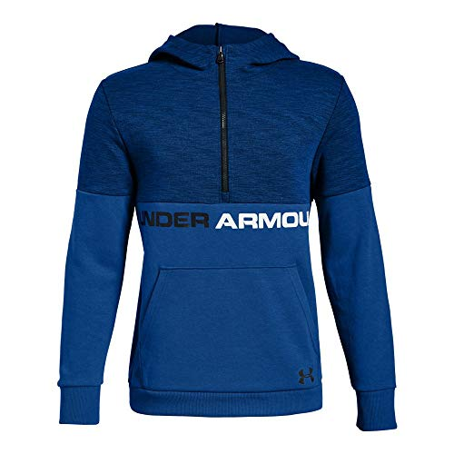 Under Armour Boys Double Knit 1/2 Zip Hoodie, Royal (400)/Black, Youth Small
