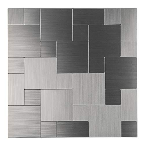 Decopus Peel & Stick Tile Backsplash for Kitchen Stick on for Bathroom, Accent Wall (Aluminum IS50 Silver Color) 5pcs, 11.8in x 11.8in - Backsplashes Tile Metal