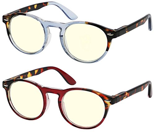 Computer Glasses 2 Pack Round High Quality Spring Hinge Stylish Ombre Color Computer Reading Glasses for Men and Women