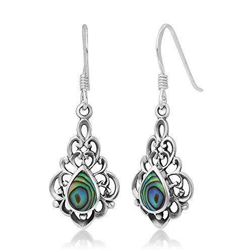 925 Sterling Silver Bali Inspired Vintage Green Abalone Shell Filigree Dangle Hook Earrings ()