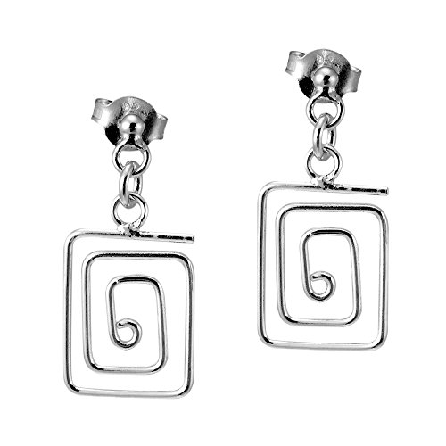 Greek Key Post Earrings (Meander Greek Key .925 Sterling Silver Post Drop Earrings)