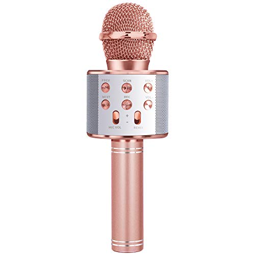Gift for 3-11 Year Old Girls Kids, Popular Microphone Birthday Gift Age 5-11 Kid Girl Speaker Microphone Singing Toy for 5-12 Year Old Teen Children Mic Rose Gold