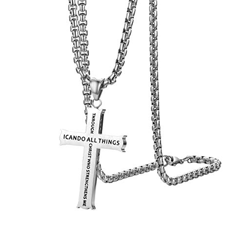 Cupimatch Philippians 4:13 Cross Pendant Necklace, Stainless Steel Strength Bible Verse Crucifix Jewelry with 22 inch Chain Silver ()