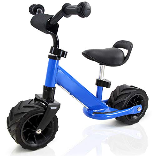 Costzon Kids Balance Bike, No Pedal Bicycle with Protective Bumper Sticker, Adjustable Handlebar & Seat, Wide PU Tire, Beach Outdoor Cycling Training for Toddlers (Blue)