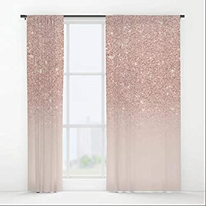 aaa22328a0bc COCO-La Rose gold faux glitter pink ombre color block Window ...