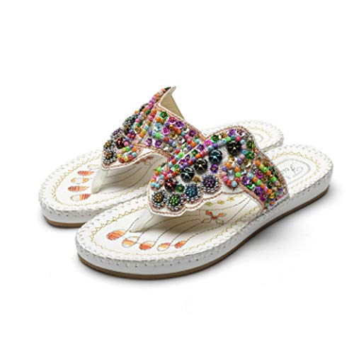 (JORCOKA Women's Beach Flip Flops Colourful Beading Sandals Bohemian Slipper Flat Home Shoes)