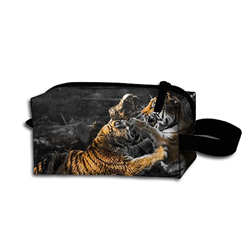 Makeup Cosmetic Bag Tigers Fight And Bite Zip Travel Portable Storage Pouch For Mens Womens ()