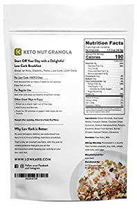Low Karb - Keto Nut Granola Healthy Breakfast Cereal - Low Carb Snacks Food - 2g Net Carbs - Almonds Pecans Coconut And More 11 Oz by Low Karb