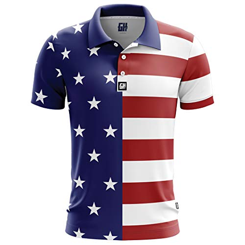Greater Half USA Flag Golf Polo (S-XXXXL) Red ()