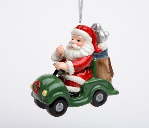 3.63 Inch Golfing Santa Claus in Convertible Car Christmas Ornament
