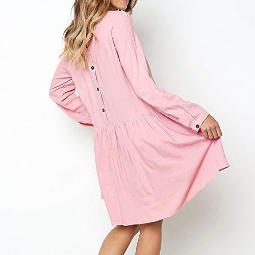 Lungo Corte Prom Abiti Tunica Vestono A Bodycon Camicie Felpa Solidi Top Eleganti Abiti Rosa Maniche Tasche Chanyuhui Donne Delle avUqgY