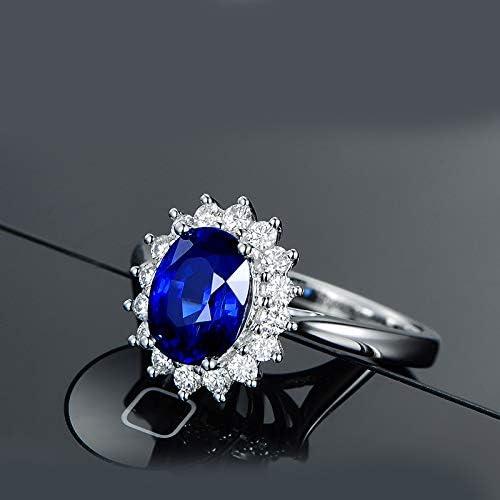 Wicemoon Middleton Bague Argent 925//1000 Saphir Bleu Zirconia Cubique Bague de Fian/çailles