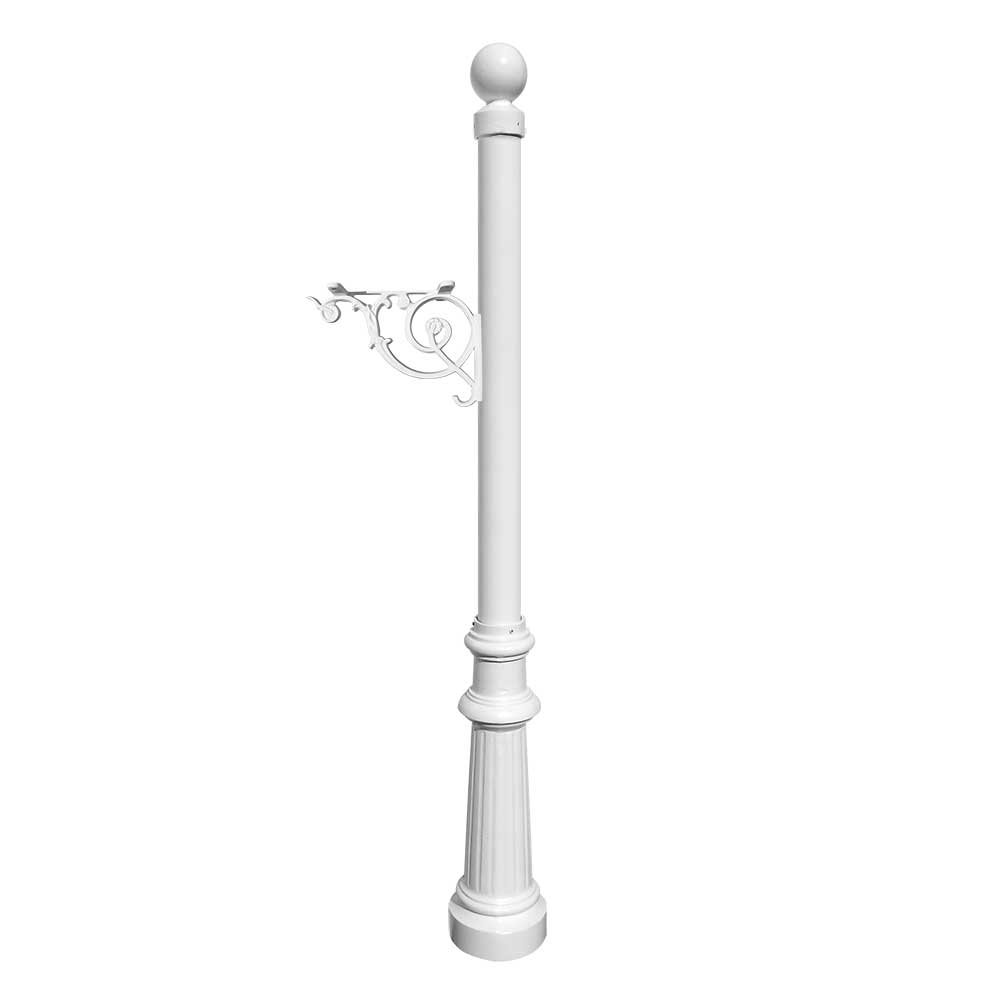 Lewiston Rust Free Cast Aluminum Fluted Post with Ball Finial for Mailboxes by Qualarc