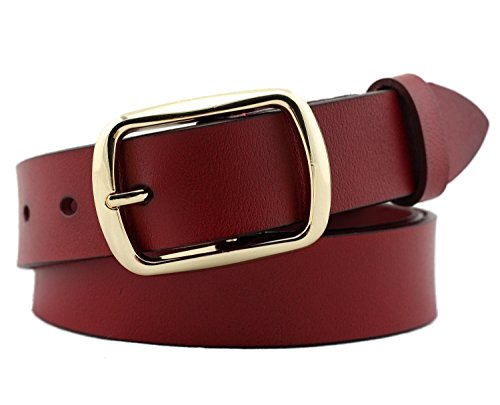 Geremen 28mm Women's Cowhide Leather Belts for Women Sl68 (Wine Red, Freesize)