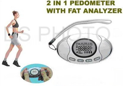 2 in 1 Pedometer with Fat Analyser-Chrome
