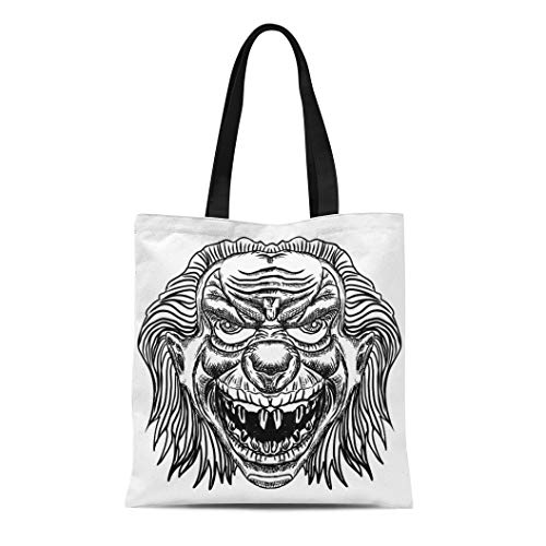 Semtomn Canvas Bag Resuable Tote Grocery Adorable Shopping Portablebags Evil Scary Clown Monster with Big Nose and Sharp Teeth Horror Cartoon White Natural 14 x 16 Inches Canvas Cloth Tote Bag ()