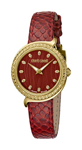 ROBERTO CAVALLI Women's RC-66 Stainless Steel Swiss Quartz Watch with Calfskin Leather Strap, Red, 22 (Model…