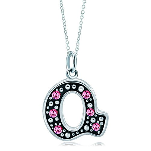 LovelyJewelry Pink Letter Q Alphabet Initial Charms Bead Necklace -