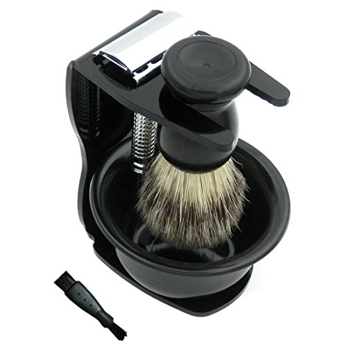 New Silver Chrome Plated Nonslip Handle Dbl Edge Classic Safety Shaving Razor + Bristle Brush Small Bowl Black Acrylic Stand Holder 10 Blades Wet Shaving Gift Set Kit for Men w/ Cleaning Brush & Bag