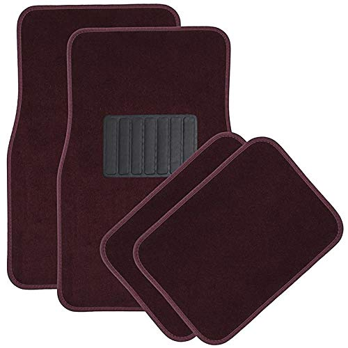 Motorup America 4pc Set Carpet Auto Floor Mat - Fits Select Vehicles Car Truck Van SUV, Red