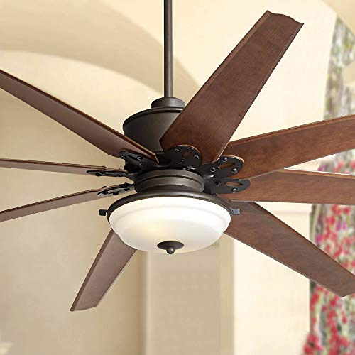 """72"""" Predator Outdoor Ceiling Fan with Light LED Remote Control English Bronze Cherry Blades Frosted Glass Damp Rated for Patio Porch - Casa Vieja Lamps Plus"""