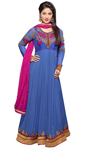 Vibes Women's Georgette Dress Material Un-Stitched Blue, Free Size