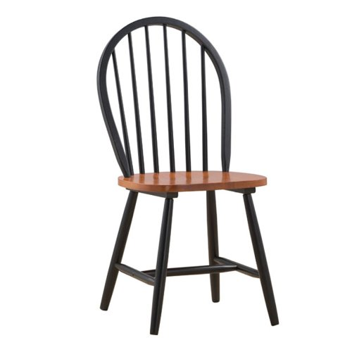 Boraam 31516 Farmhouse Chair, Black/Cherry, Set of (Kitchen Windsor Chair)
