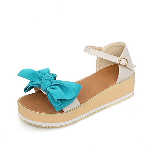 AmoonyFashion Womens Open Toe Mid Heel Frosted PU Solid Sandals with Bowknot Beige d3YqCAi