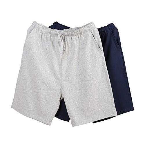 RENZER Men's Short Pajama Bottoms Knit Cotton Short Lounge Pants [2 Packs] Light Gray & Navy Blue 2XL