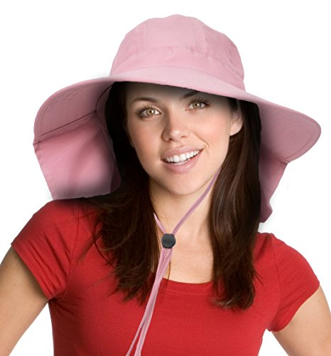 Sun Blocker Womens Safari Sun Hat with Neck Flap Large Brim Packable Summer Beach Fishing Cap