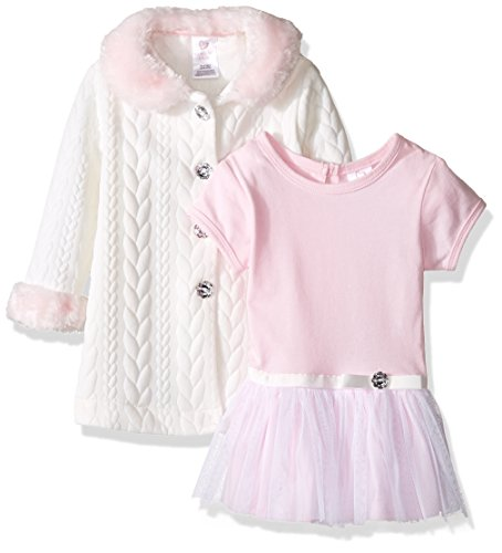 Youngland Baby Girls' 2 Piece Coat and Dress Set, Ivory/Pink, 12 Months