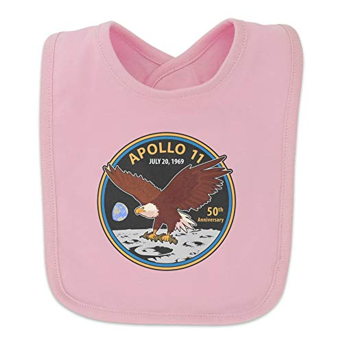 NASA Apollo 11 50th Anniversary Patch with Eagle on The Moon Baby Bib - Pink