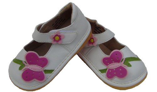 White Toddler/Infant/ Girls Leather Squeaky Shoes With Pink Butterfly (4)