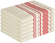 GLAMBURG Vintage Stripe Premium Cotton Kitchen Dish Towels 6-Pack 16x26 Red, Dish Cloths, Bar Towels, Tea Towe