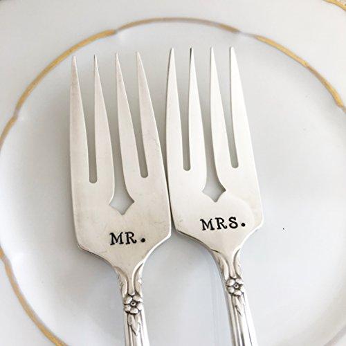 MR & MRS salad forks, hand stamped vintage sweetheart wedding set, Valley Rose