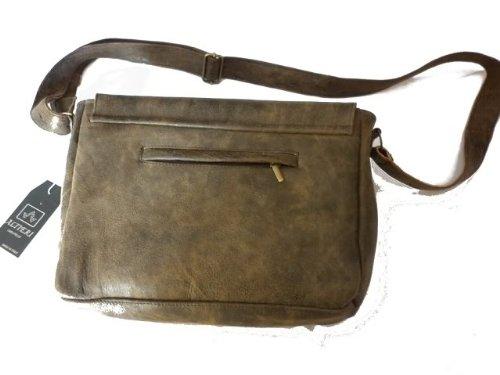 Borsa in pelle uomo -Vero Artigianato italiano - L36xH26xP6 cm MOD : Tomas vintage crack