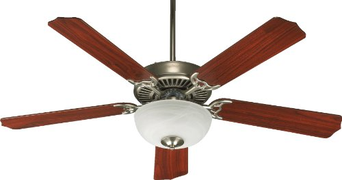 (Quorum International 77525-9265 Capri III 52-Inch 2 Light  Ceiling Fan, Satin Nickel Finish with Faux Alabaster Glass Bowl and  Reversible Blades )