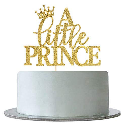Royal Prince Baby Shower Cake (Gold Glitter A Little Prince Cake Topper for Baby Shower,Gender Reveal, Baby Boy 1st 2nd Birthday Party Decorations)
