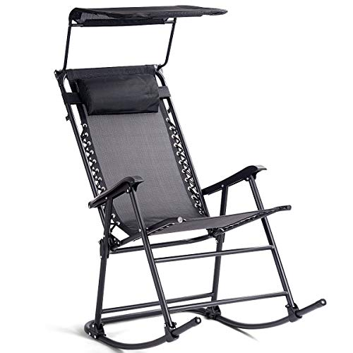 Goplus Folding Zero Gravity Rocking Chair, Portable Wide Recliner for Outdoor Lawn Beach Patio Pool w/Shade - Chair Rocker Rocking Sports