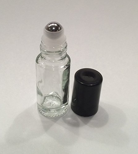 5ml Clear Glass Roll On Bottle With Stainless Steel Roller & Black Cap (25)