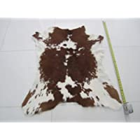 White & Brown Calfskin Rug Aprx 2X3