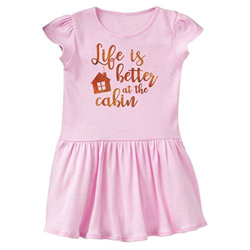 - inktastic - Life's Better Cabin Infant Dress 6 Months Pink 26955