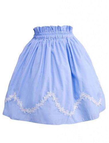 M4U Womens Cotton Blue Scalloped Lace Lolita Skirt;Size:XL