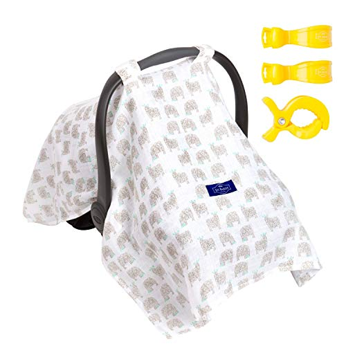 SUPER SALE! 100% ORGANIC Cotton Baby Car Seat Canopy Cover/Stroller Covers Gift Set for Infant or Babies - 3 Adjustment Clips Included (Sheep)