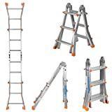 9.4Ft Aluminum Folding Scaffold Ladder With A Framed Safety Construction. MAX Support Weight 330 LBS