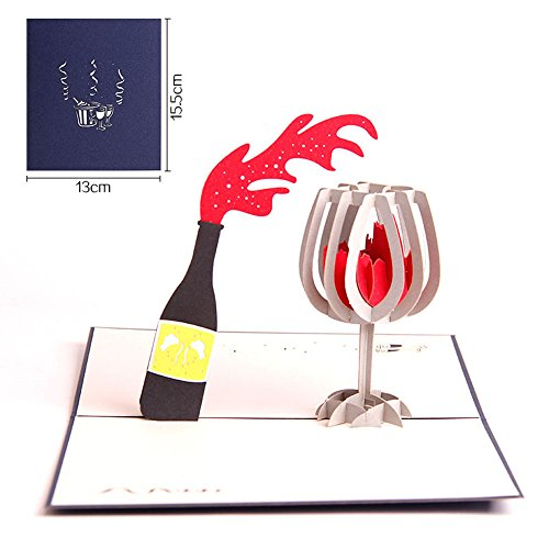CLSstar 3D Wine Pop Up Handmade Cards Creative Greeting (Wine Glass Card)